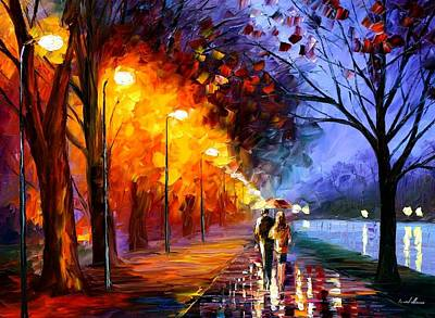 Park Oil Painting - Alley By The Lake by Leonid Afremov