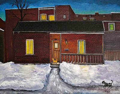 Montreal Streets Painting - Alley Cat House by Reb Frost