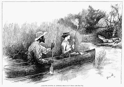 Alligator Bayou Photograph - Alligator Hunt, 1888 by Granger