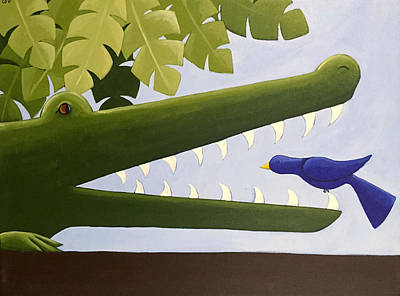 Crocodile Painting - Alligator Nursery Art by Christy Beckwith