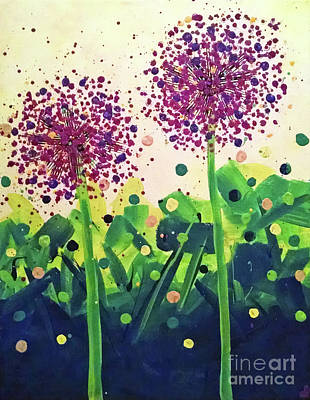 Abstract Handbag Painting - Allium Explosion by Jilian Cramb - AMothersFineArt