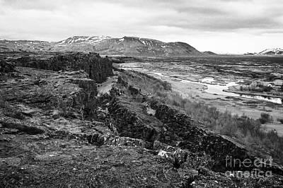 Almannagja Fault Line In The Mid-atlantic Ridge North American Plate Thingvellir National Park Print by Joe Fox