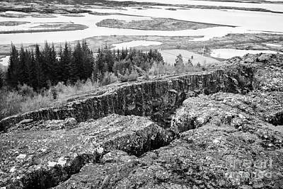 Almannagja Fault Line In The Mid-atlantic Ridge North American Platethingvellir National Park Icelan Print by Joe Fox