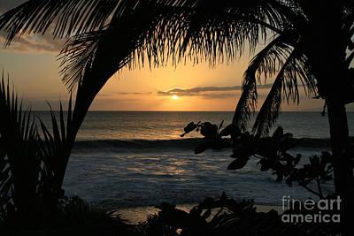 Aloha Aina The Beloved Land - Sunset Kamaole Beach Kihei Maui Hawaii Print by Sharon Mau