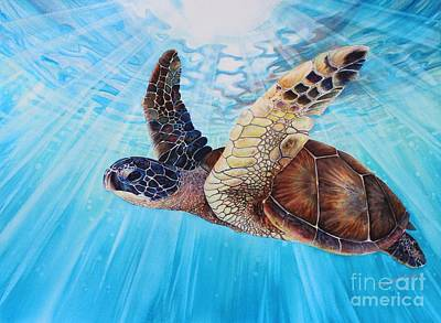 Green Sea Turtle Painting - Aloha Spirit by Christie Elder