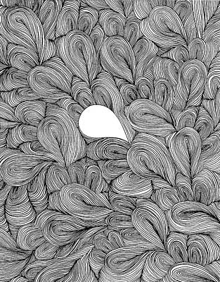 Tears Drawing - Alone In A Sea Of Curls by Unicia Buster