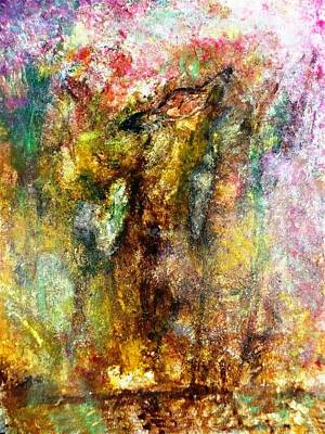 Abstract Coyote Painting - Alone In Autumn Painting by Amy Drago