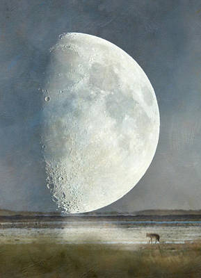 Alone With The Moon Print by Angie Vogel