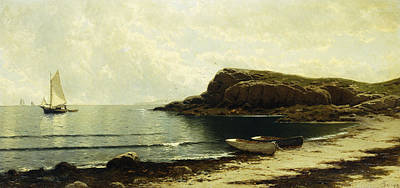 Sailing Ship On Ocean Painting - Along The Shore by Alfred Thompson Bricher