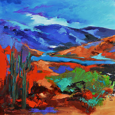 Saguaro Cactus Painting - Along The Trail - Arizona by Elise Palmigiani