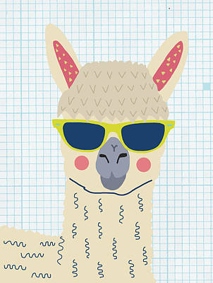 Llama Digital Art - Alpaca by Nicole Wilson