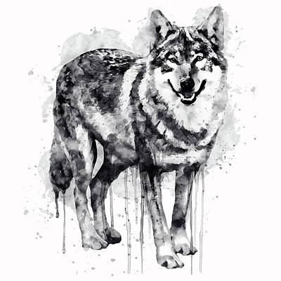Wolves Digital Art - Alpha Wolf Black And White by Marian Voicu