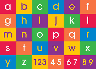 Numbered Digital Art - Alphabet Colors by Michael Tompsett