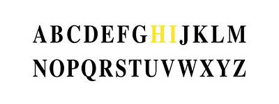 Typography Digital Art - Alphabet Hi by Nancy Ingersoll