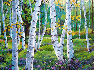Canadiens Painting - Alpine Flowers And Birches  by Richard T Pranke