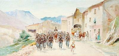 Alpine Painting - Alpine Marching Through A Village by MotionAge Designs