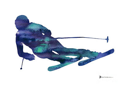 Alpine Skiing Watercolor Minimalist Painting Print by Joanna Szmerdt