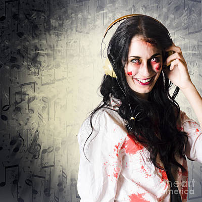 Alternative Woman Rocking Out With Earphones Print by Jorgo Photography - Wall Art Gallery