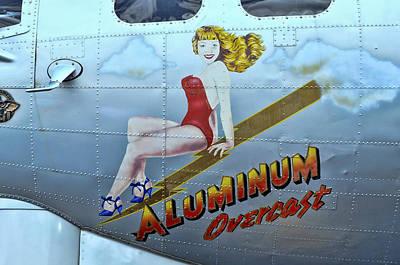 Pin Up Nose Art Photograph - B - 17 Aluminum Overcast Pin-up by Allen Beatty