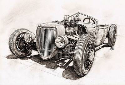 Hot Rod Drawing - Alviso Roadsters Modified by Ruben Duran