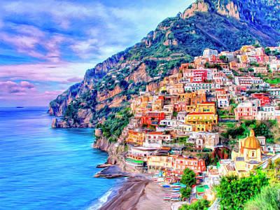 Hills Painting - Amalfi Coast At Positano by Dominic Piperata