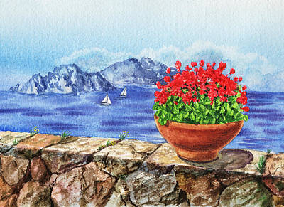 Old Age Painting - Amalfi Coast Vew Of Anacapri by Irina Sztukowski