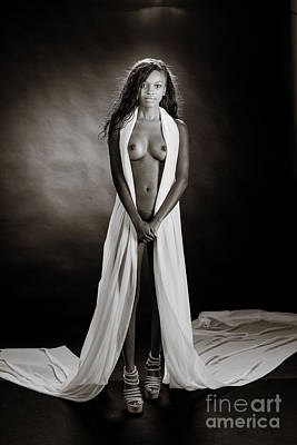 Amani African American Nude Sensual Sexy Fine Art Print In Sepia 4979.01 Print by Kendree Miller