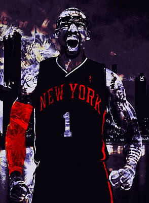 Amare Stoudemire  On Fire Print by Brian Reaves
