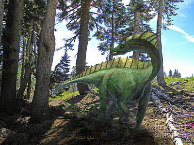 Dinosaur Mixed Media - Amargosaurus In Forest by Frank Wilson