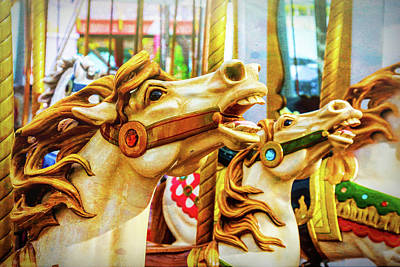 Antique Carousel Photograph - Amazing Carrousel Horses by Garry Gay