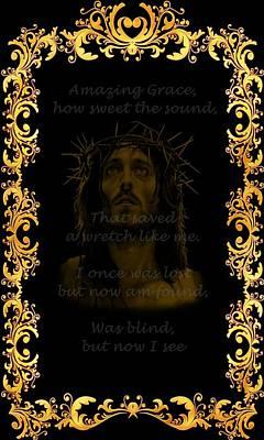 Jesus Christ Digital Art - Amazing Grace A Christian Hymn  by Movie Poster Prints