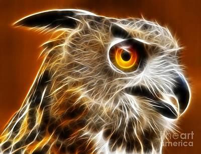 Owl Mixed Media - Amazing Owl Portrait by Pamela Johnson