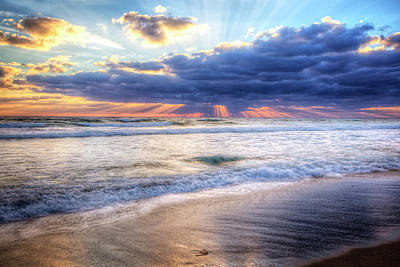 Amazing Sunrays At Dawn Print by Debra and Dave Vanderlaan