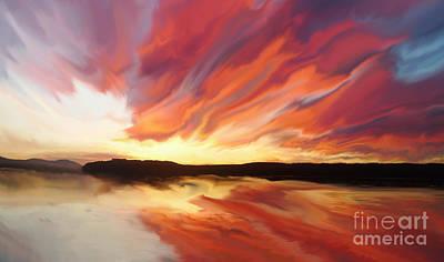 Sunset Painting - Amazing Sunset by Justyna JBJart