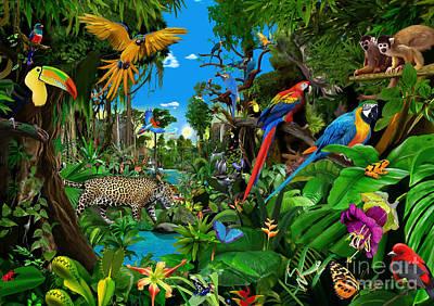 Toucan Digital Art - Amazon Sunrise by Gerald Newton