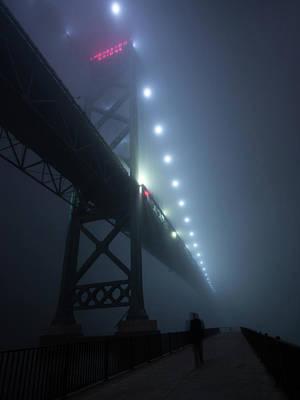Ambassador Photograph - Ambassador Bridge In Fog by Cale Best