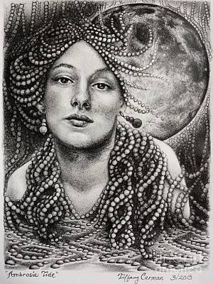 Sacred Feminine Moon Drawing - Ambrosia Tide by Tiffany Carman