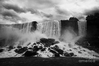 American And Bridal Veil Falls With Luna Island And Deposited Talus Niagara Falls New York State Usa Print by Joe Fox
