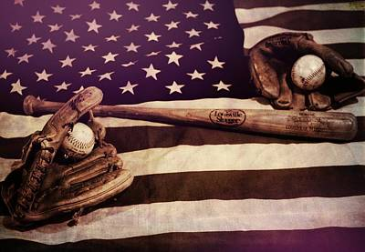 Flag Day Mixed Media - American Baseball Grunge by Dan Sproul
