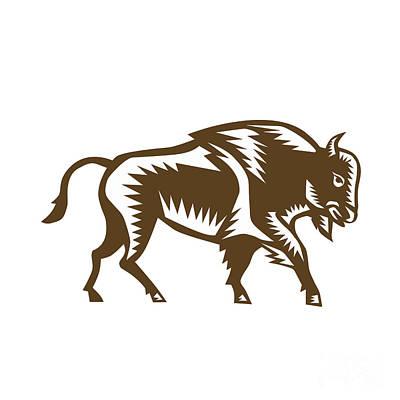 American Bison Woodcut Print by Aloysius Patrimonio