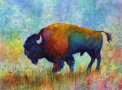 Abstract Wildlife Painting - American Buffalo 5 by Hailey E Herrera