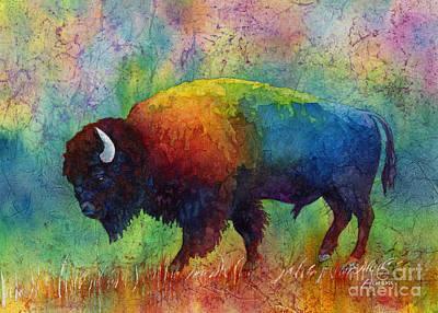 Batik Painting - American Buffalo 6 by Hailey E Herrera