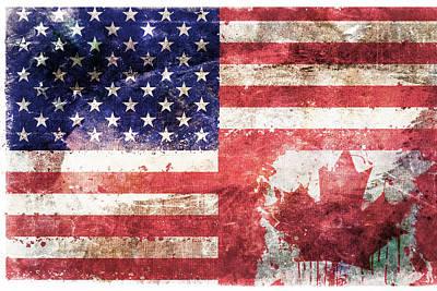 July 4th Digital Art - American Canadian Tattered Flag by Az Jackson
