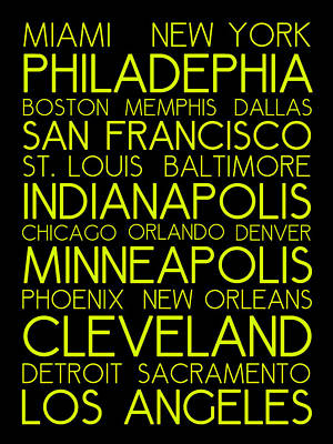 St. Louis Digital Art - American Cities In Bus Roll Destination Map Style Poster  by Celestial Images