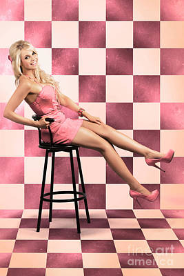 Barbie Photograph - American Culture Pin Up Girl Inside 60s Retro Diner by Jorgo Photography - Wall Art Gallery
