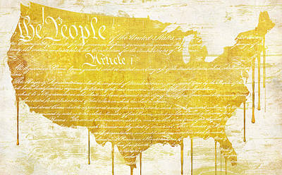 Gold American Map Constitution Print by Mindy Sommers