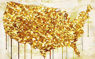 Dripping Painting - Glitter Gold American Map by Mindy Sommers