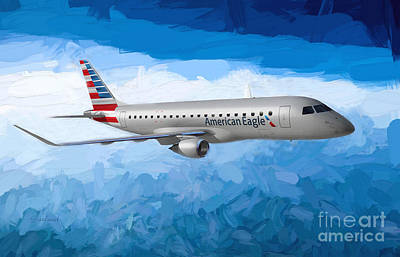 Airliners Mixed Media - American Eagle In The Clouds by Garland Johnson