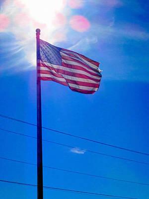Patriotism Painting - American Flag 6 by Lanjee Chee