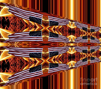 Red White And Blue Photograph - American Flag And Fireworks Horizontal Streaks Abstract by Rose Santuci-Sofranko